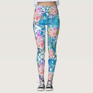 Asymmetrical Tribal Floral Blue Marble leggings
