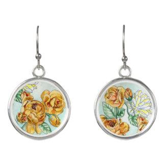 Asymmetrical Yellow & White Flower Earrings