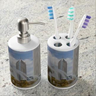 At Buckingham Fountain Soap Dispenser And Toothbrush Holder