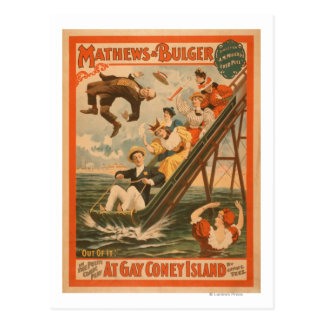 """""""At gay Coney Island"""" Musical Comedy Poster #2 Postcard"""