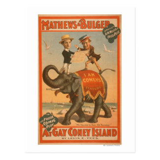 """""""At gay Coney Island"""" Musical Comedy Poster #3 Postcard"""
