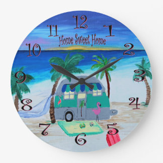 at home on the beach wall clock