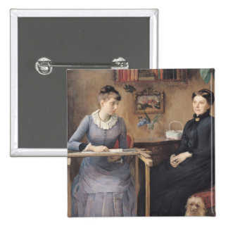 At Home or Intimacy, 1885 15 Cm Square Badge