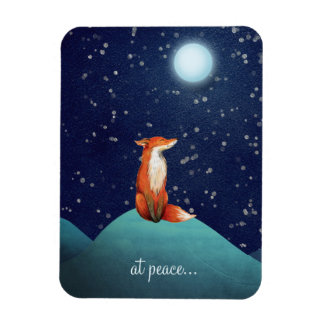 at peace ~ Charming Fox Sitting Under a Full Moon Rectangular Photo Magnet