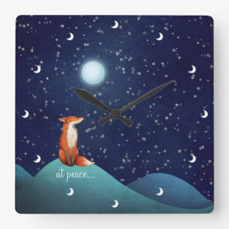 at peace ~ Charming Fox Sitting Under a Full Moon Square Wall Clock