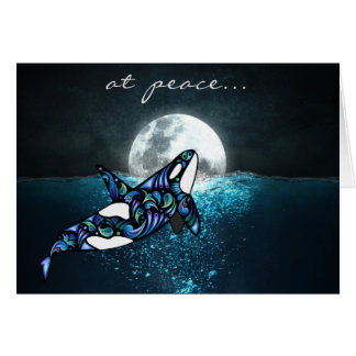 at peace ~ Full Moon Psychedelic Trippy Orca Whale Card