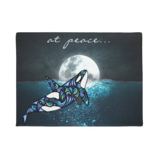 at peace ~ Full Moon Psychedelic Trippy Orca Whale Doormat