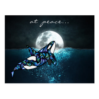 at peace ~ Full Moon Psychedelic Trippy Orca Whale Postcard