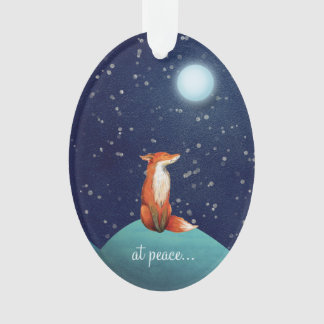 at peace ~ Personalised Cute Fox Under a Full Moon