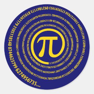 At Pi Sign, Spiral Version Round Sticker