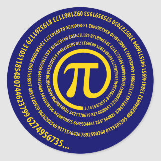 At Pi Sign, Spiral Version Classic Round Sticker