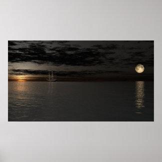 At rest sailing sundown. print