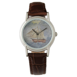 """""""At Sea"""" Classic Brown Leather Watch"""