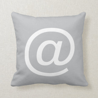 @ (at sign) button pillow, Gray & White