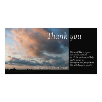 At Sunset Peaceful Sky 1 Sympathy Thank You Photo Greeting Card