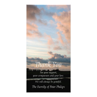 At Sunset Peaceful Sky 3 Sympathy Thank You Customised Photo Card
