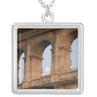 at sunset with moon silver plated necklace