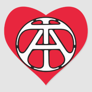 AT / TA Monogram Heart Sticker
