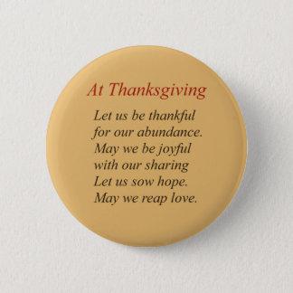 At Thanksgiving Poem 6 Cm Round Badge