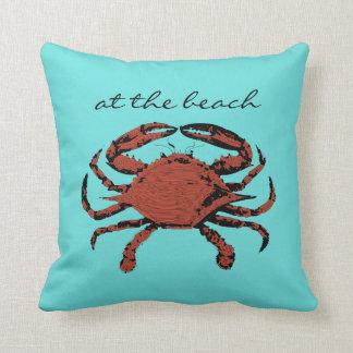 At The Beach Nautical Crab Teal Home Throw Pillows