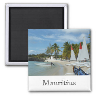 At the beach of Mauritius Square Magnet
