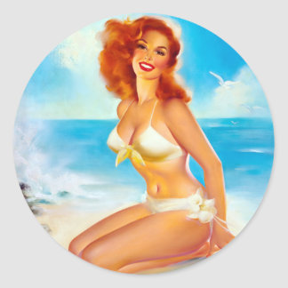 At the Beach Pin Up Classic Round Sticker