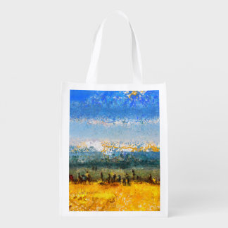 At the beach reusable grocery bag
