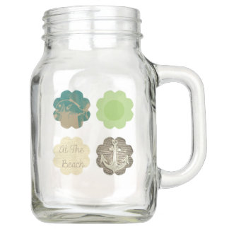 At the beach theme on Mason jar with handle