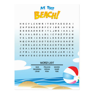 At the Beach Word Search Activity Card