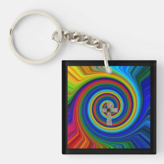 at the beginning of it all the cross 2side key fob Double-Sided square acrylic key ring