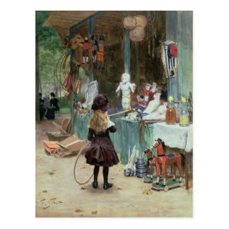 At the Champs-Elysees Gardens, c.1897 (gouache on Postcard