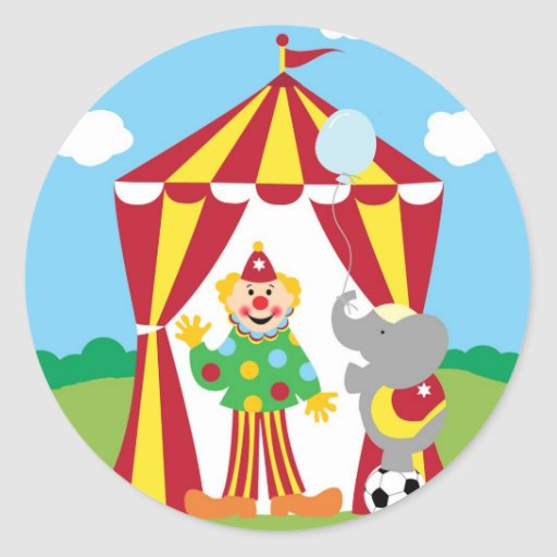 At The Circus Round Sticker