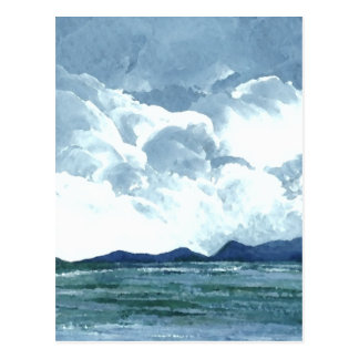 At the Edge of the Sea Blue Sky Clouds Ocean Art Post Card