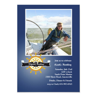 At the Helm (Navy) Nautical Photo Invitation
