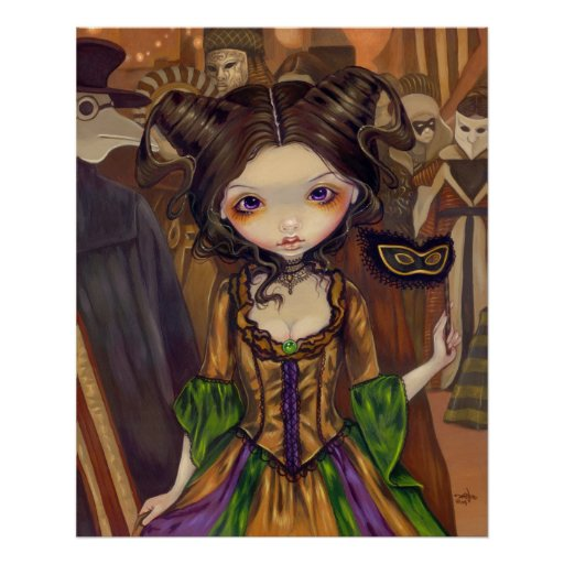 At the Masquerade Ball gothic mardi gras Art Print