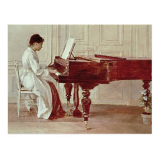 At the Piano, 1887 (oil on canvas) Postcard