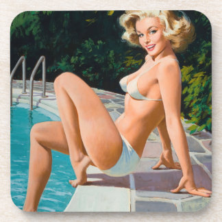 At the pool sexy blonde retro pinup girl coasters