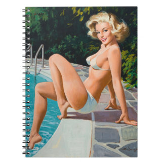 At the pool sexy blonde retro pinup girl notebook