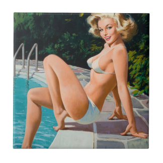 At the pool sexy blonde retro pinup girl small square tile
