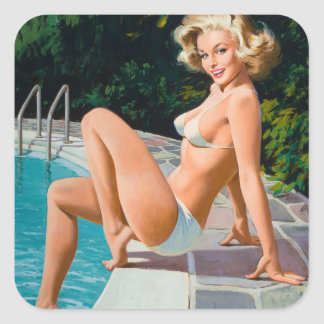At the pool sexy blonde retro pinup girl square sticker