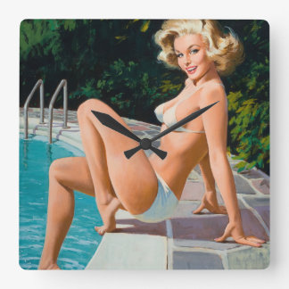 At the pool sexy blonde retro pinup girl square wall clock