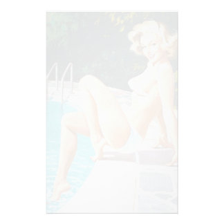 At the pool sexy blonde retro pinup girl stationery