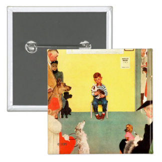 At The Vets by Norman Rockwell 15 Cm Square Badge