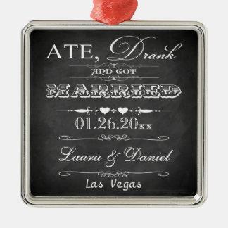 Ate, Drank and Got Married Christmas Keepsake Metal Ornament