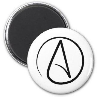 Atheism symbol: black on white 6 cm round magnet