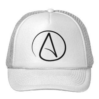 Atheism symbol: black on white cap