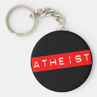 Atheist Dymo Label Basic Round Button Key Ring