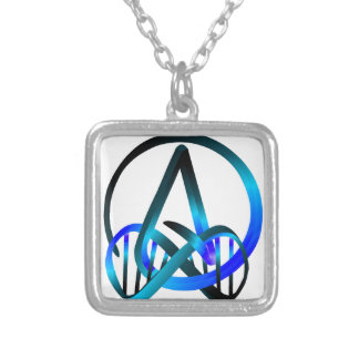 Atheist Forever Blue Square Pendant Necklace