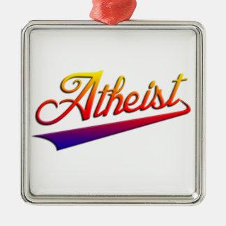Atheist Orange Swash Silver-Colored Square Decoration