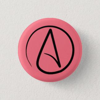 Atheist symbol: black on coral 3 cm round badge